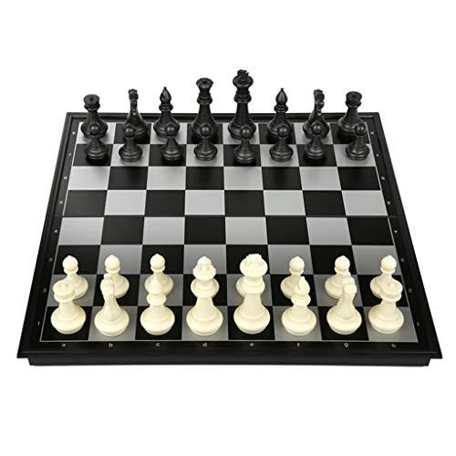 Teri Scacchiera Faltbares hochwertiges Schachspiel-Schach-Set mit Schachbrett-Schachfiguren mit magnetischen Schachbrett-Spielgeschenken Scacchi (Color : Black White, Größe : Extra Large)