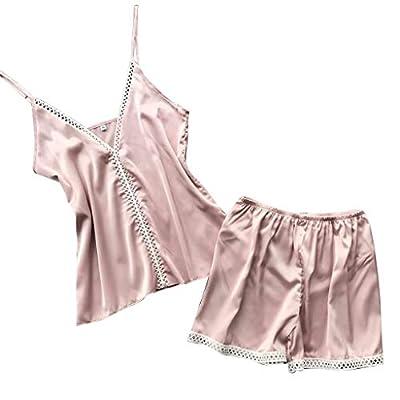 RAINED-Women Silk Sleepwear Lingerie Satin Pajamas Camisole Shorts Set Sleeveless Strap Nightwear Boyshort Crop Tops