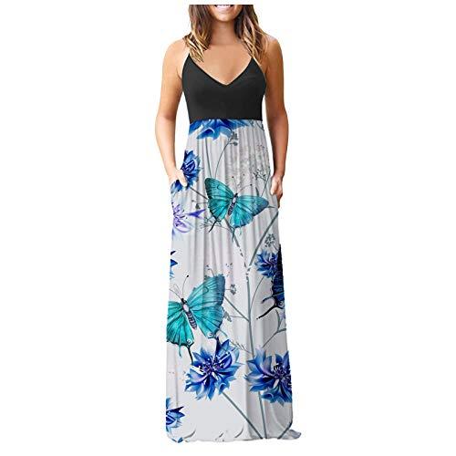 NAQUSHA Vestido de noche elegante para mujer, con cuello en O, manga corta, con bolsillos, vestido de fiesta, vestido de fiesta, falda de tirantes