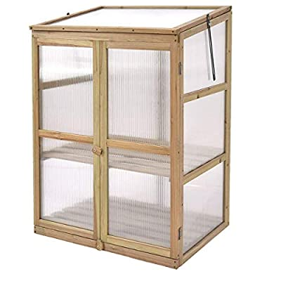 Giantex Garden Portable Wooden Cold Frame Greenhouse Raised Flower Planter Protection