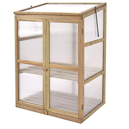 Giantex Garden Portable Wooden Cold Frame Greenhouse Raised Flower Planter Protection (30.0'X22.4'X42.9')