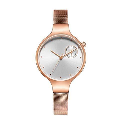 JCCOZ-URG Sencillo Nuevo Reloj de la Manera Mujeres de los Relojes de Lujo a Prueba de Agua Reloj de Vestir Mujer Marca señoras Reloj de Cuarzo URG (Color : Rose Gold in Box)