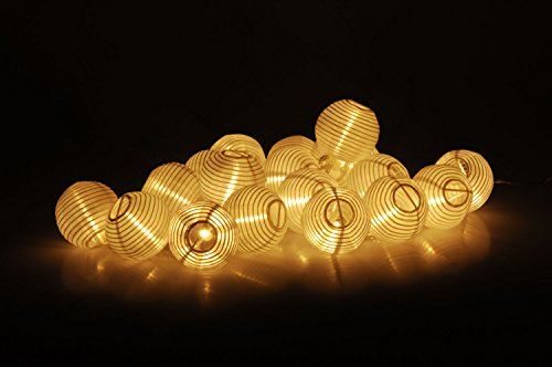 Party Lichterkette mit 20 LED Lampions in weiß - Innen & Außen - 20 LED in warmweiß - Lieferung inkl. Netzteil