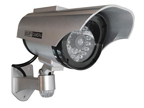 4X Überwachungskameras Solar Dummy Outdoor Kameras Dummy Kamera Attrappe mit Objektiv und Blinkled Videoüberwachung Warensicherung
