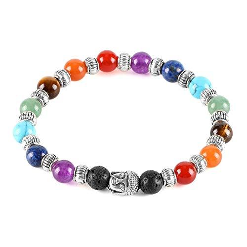ZAOPP 7 Chakra Tibetano Pulsera para Mujeres Black Lava Gem Piedra Beads Reiki Buddha Oración Piedra Natural Piedra Yoga Joyería Accesorios