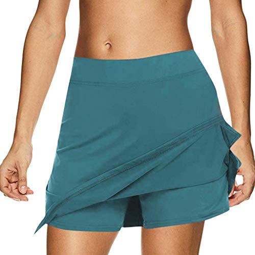 Riou Rock Damen mit Hose Sommer Kurz Active Athletic Skort Leichter Tennisrock mit Innenhose Hosenrock für Damen Sportrock (M, Hellblau)