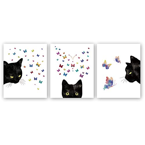 Black Cat With colorful Butterfly Art Print,Set Of 3(8X10) Watercolor Animals Canvas Poster Painting,Modern
