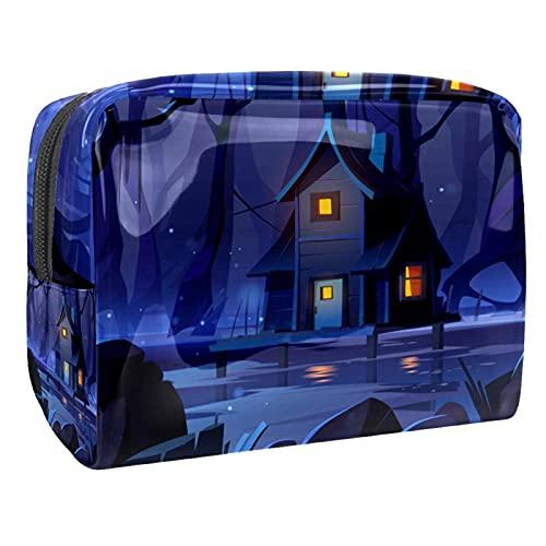 Neceser con cremallera bolsa de transporte portátil de maquillaje cosmético para vacaciones, baño y organización (patrón animal), Wood Forest Night, 18.5x7.5x13cm/7.3x3x5.1in,