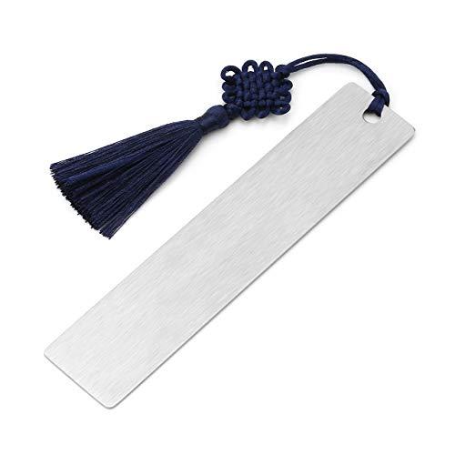 Zysta Personalisiert Gravur - Edelstahl Lesezeichen Bookmark Buchzeichen mit Keltischer Knoten Quasten Rechteckig Handgefertigt Buch Zubehör (Rechteck 2#)