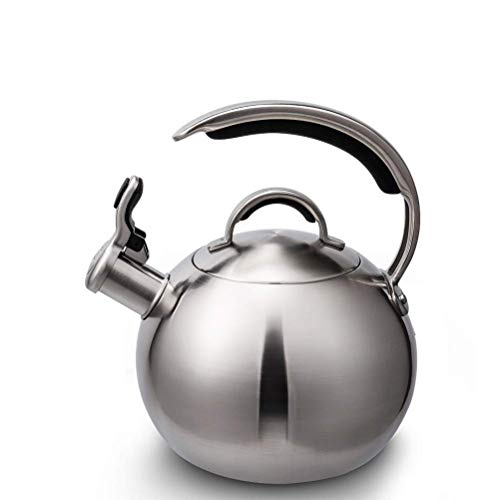 Whistle Teapot Modern Cooking Grade Stainless Steel Kettle-with C-Shaped Heat-Resistant Handle and Thumb Button Spout, 3L Silver kettle