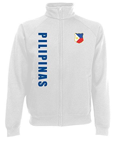 AkyTEX Philippinen Pilipinas Sweatjacke Jacke Trikot Wunschname Wunschnummer (Weiß, M)