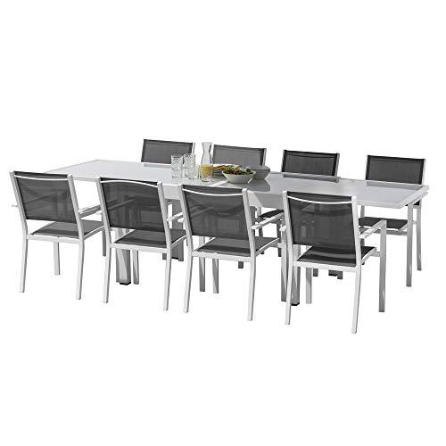 Conjunto de Mesa de Comedor y 8 sillas de jardín Thais Gris de Aluminio y Cristal - LOLAhome