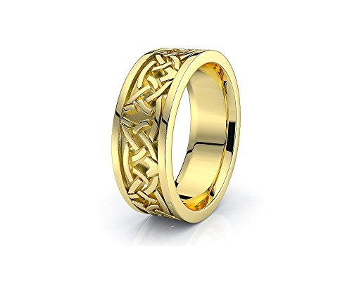 Alganati 10K White Yellow Gold Celtic Knot Wedding Band Rings