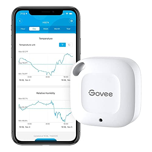 Govee Hygrometer Thermometer, Wireless Thermometer, Mini Bluetooth Humidity Sensor with Notification Alert, Data Storage and Export, 262 Feet Connecting Range