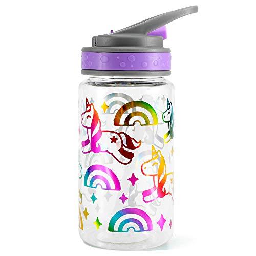 Home Tune 15oz Kids Water Drinking Bottle - Tritan BPA Free, Wide Mouth, Flip Sip Top, Easy Open, Lightweight, Leak-Proof Water Bottle with Cute Foil Print Design For Girls & Boys - Unicorn
