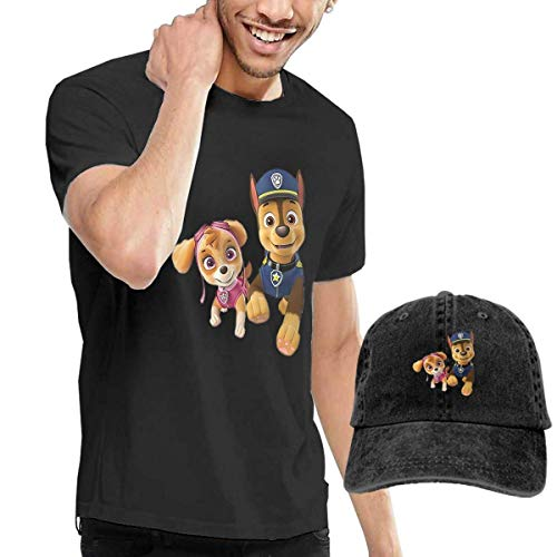 Herren Kurzarm T-Shirt Baseballmütze t-Shirts, Tee\'s, Paw-Patrol Men\'s Classic T-Shirt with Washed Denim Baseball Hat Black