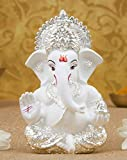 Gold Art India Silver Plated Terracotta Ganesh Idol (White)