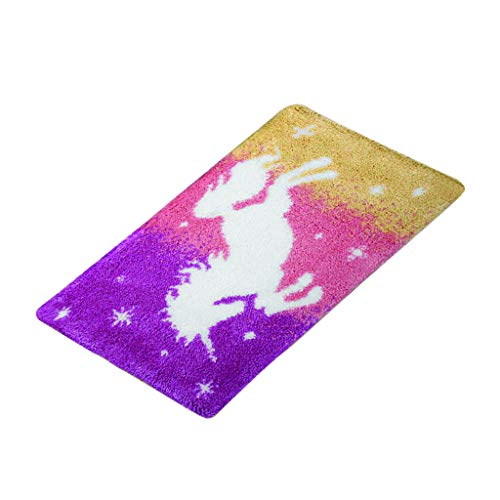 Bonarty DIY Rug Kit Colorful Horse Latch Hook Kits Cushion Cover Rug Making Kits DIY for Kids/Adults with Printed Canvas Pattern 60 x 40cm
