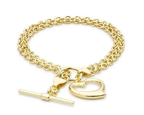 Carissima Gold 9ct Yellow Gold Open Heart 2 Strand Belcher T-Bar Bracelet of 19cm/7.5'