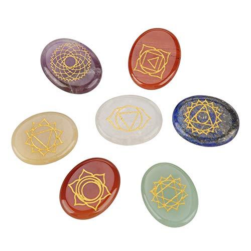 Juego de 7 Piedras de Chakra con Grabado Espiritual para Curación y Meditación, Piedras de Palma, Cristal Reiki Chakra
