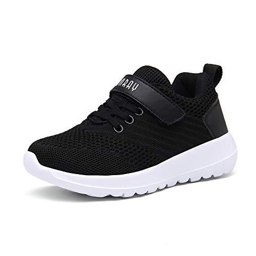 PAMRAY Kinder Sportschuhe Jungen Mädchen Running Sneaker Outdoor Turnschuhe Schnürer Laufschuhe Freizeit Hallenschuhe Atmungsaktiv Schwarz-A 33