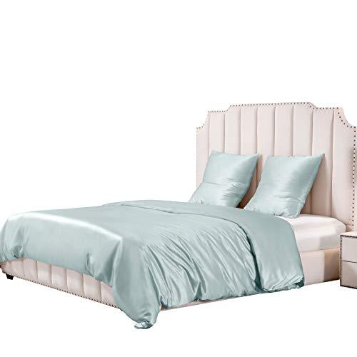 Amazon Brand - Umi Seide Bettwäsche 3-teilige Set 25 Momme mit Seiden Bettbezug 260x220 und Kissenbezüge 80x80, Weich und Atmungsaktiv, Hellblau