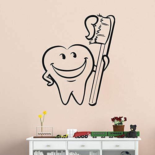 Divertido cepillo de dientes pegatina de pared decoración del hogar calcomanías de pared de baño niños guardería decoración de habitación de bebé A2 40x30cm
