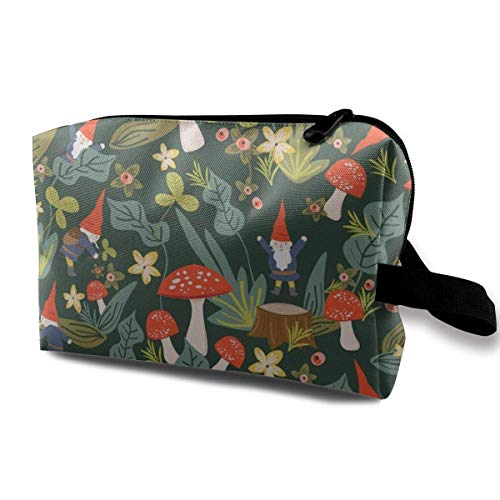 Woodland Gnomes (Large)_762 Cosmetic Beauty Bag Cosmetics Makeup Large Capacity Women Girl Blue Flowers