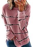 OMZIN - Sudadera con capucha para mujer, cuello redondo, manga larga, suelta, blusa, blusa, blusa, blusa de...