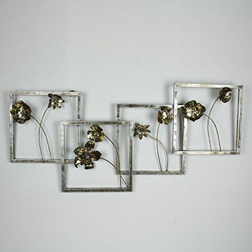 mosa designs WTD Tableau Mural 3D en métal Motif Fleurs Doré 100 x 47 cm