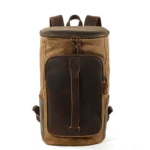LCSD Mochilas de gran capacidad al aire libre encerado lona bolsa de hombro mochila bolsa de moda simple resistente al agua bolsas de alpinismo eléctrico antirrobo (26 x 23 x 43 cm)