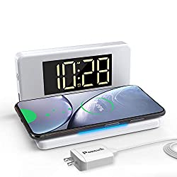 Pointuch Digital Alarm Clock with Wireless Charger,Qi Certified 10W Fast Wireless Charger White Night Light Dimmable LED Display USB Charging for iPhone Samsung(White)