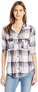 Paper + Tee Women's Open Collar Plaid Printed Top