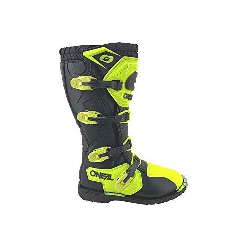 O'NEAL | Motocross-Stiefel | Enduro Motorrad | Komfort Air-Mesh-Innenleben, Vier Verschlussschnallen, hochwertiges Synthetik-Matherial | Boots Rider Pro | Erwachsene | Schwarz Neon-Gelb | Größe 43