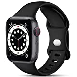 CeMiKa Compatible con Apple Watch Correa 38mm 42mm 40mm 44mm, Deportivas de Silicona Correas de Repuesto Compatible con iWatch SE Series 6 5 4 3 2 1, 38mm/40mm-S/M, Negro
