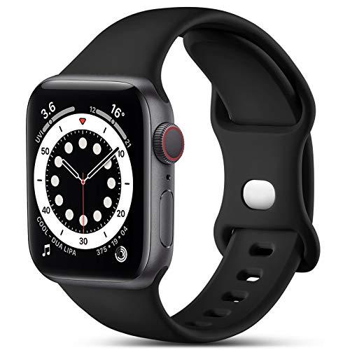 CeMiKa Kompatibel mit Apple Watch Armband 38mm 40mm 42mm 44mm, Ersatz Armband aus Silikon für Sport Armbänder Kompatibel mit iWatch Armband SE Series 6 5 4 3 2 1, 38mm/40mm-S/M, Schwarz
