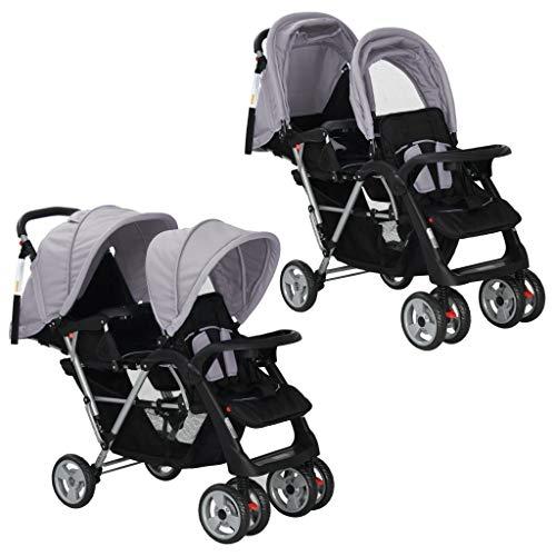 vidaXL Geschwisterwagen Grau Geschwister Kinderwagen Baby Buggy Zwillingsbuggy