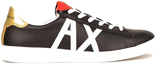 Armani Exchange AX Box Sole Sneakers, Zapatillas para Hombre, Negro (Black+White Logo 00002), 43 EU