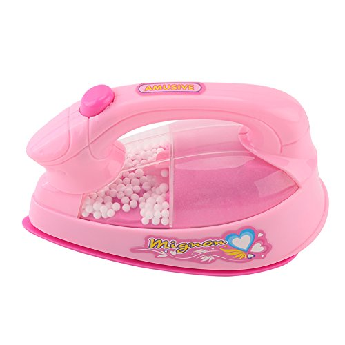 Fdit Mini Plastic Electric Iron Toy Kids Children Girl Pretend Play Home Appliances Toys (Pink)