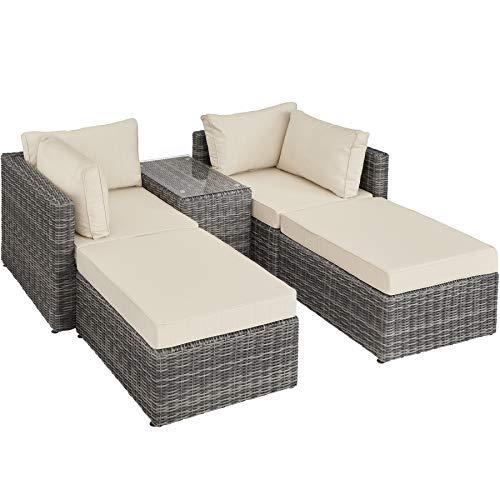 TecTake 800694 Aluminium Polyrattan Multifunktions Loungegruppe Gartensofa mit Tisch, für Garten oder Terrasse, vielseitig kombinierbar, inkl. Polster - Diverse Farben (Grau | Nr. 403169)