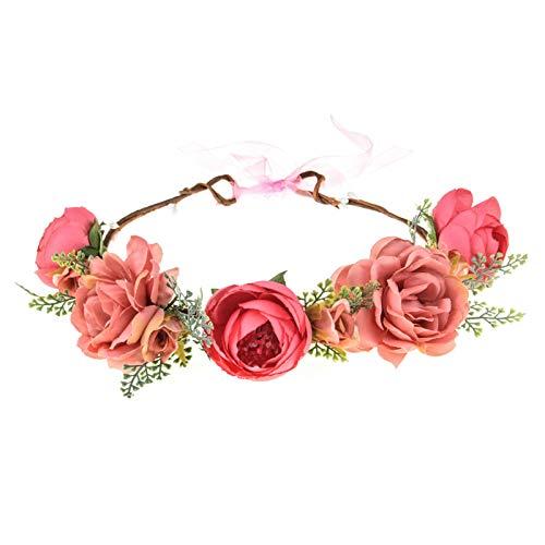 Funsveta Women Rose Flower Headband Floral Crown Garland Halo Wedding Festivals Photo Props (Fuschia Rose)