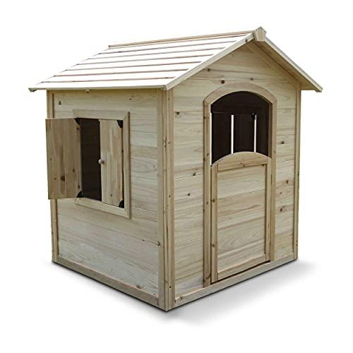 Oviala Maisonnette cabane Enfants Marron Carré 110 x 110 x 120 cm Bois Gautier