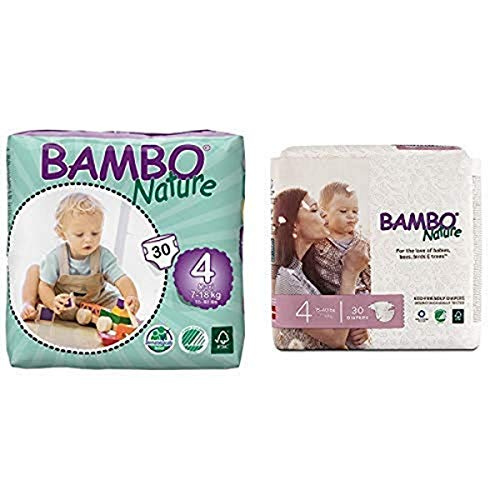 Bambo Nature Eco Friendly Baby Diapers Classic for Sensitive Skin, Size 4 (15-40 lbs), 30 Count and Bambo Nature Eco Friendly Premium Baby Diapers for Sensitive Skin, Size 4 (15-40 lbs), 30 Count