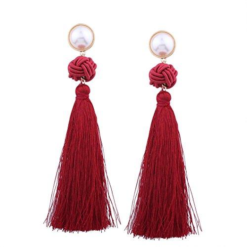 Aretes Para Mujer Largos, Zolimx Vintage Bohemia Moda Tejer Pendientes