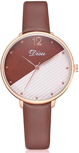 Damenuhr Quarz-Armbanduhr mit rundem Zifferblatt, Kontrastfarbe mit PU-Armband für Elegante Frauen, Braun
