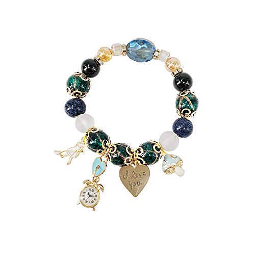 Naturstein Kristall Mädchen Uhr Liebesbrief Schloss Anhänger Perlen Armband Armband