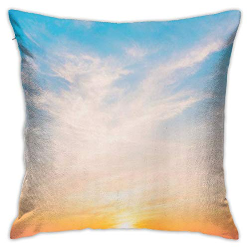 Square Throw Pillow Cover,Blue Sky Beautiful Sunset Sea at Twilight Times Vintage Filter Beach Decorative Pillow Case for Sofa 18 X 18 Inch