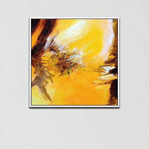 Schilderij olieverfschilderij op canvas, abstract natuurlandbeeld, bruin en geel, oceaan Scenario, moderne kunst Pop Dia, maat A Mano Wall Art Picture voor het leven Sala Risto 90×90 cm/36×36 inch