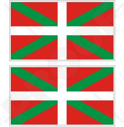Drapeau Pays Basque EUSKADI País Vasco Espagne 10,2 cm (100 mm) en vinyle Bumper Stickers, Stickers x2