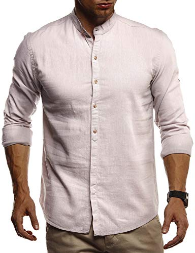 Leif Nelson Herren Leinenhemd Hemd Leinen Kurzarm T-Shirt Oversize Stehkragen Männer Freizeithemd Sommerhemd Regular Fit Jungen Basic Shirt Kurzarmshirt Freizeit Sweater LN3860 Beige X-Large